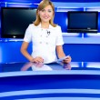 Television newscaster at TV studio — Stock Photo