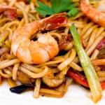 Pasta with shrimps, macro — Stock Photo