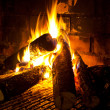 Fire in fireplace — Stock Photo