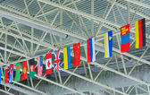 State flags under ceiling — Stock Photo