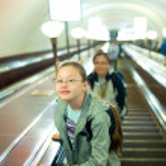 Girl in subway — Stock Photo