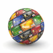 Sphere or globe from credit cards — Stock Photo