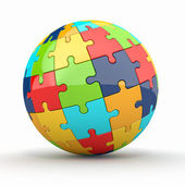 Globe or sphere from puzzles on white background — Stock Photo