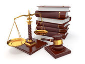 Justice concept. Law, scale and gavel. — Stock Photo