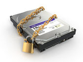 Protected hdd. Chain and lock on hard disk drive — Stock Photo