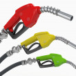 Gas pump nozzles o0n white isolated background — Stock Photo