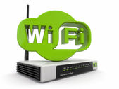 Wireless Router and sign of wifi — Stock Photo