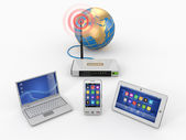 Home wifi network. Internet via router on phone, laptop and tabl — Stock Photo