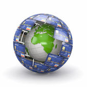Earth in sphere from credit cards — Stock Photo