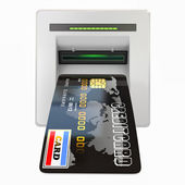 Money withdrawal. ATM and credit or debit card — Stock Photo