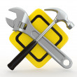 Utility. Tools, Wrench and hammer. 3d — Stock Photo