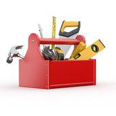 Boîte à outils avec outils. skrewdriver, marteau, scie à main et clé — Photo