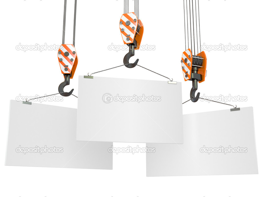 Crane hooks with empty boards on white background. 3d — Stock Photo #8016320