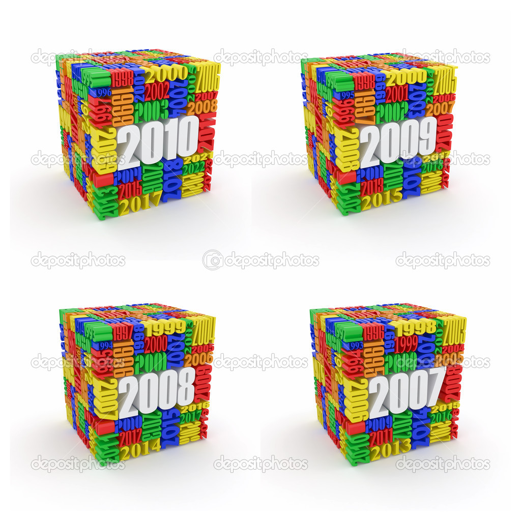 New year 2010, 2009, 2008, 2007. Cube consisting of the numbers. 3d — Stock Photo #8230817
