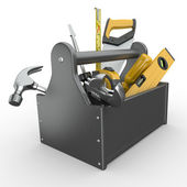Toolbox with tools. Skrewdriver, hammer, handsaw and wrench. — Stock Photo