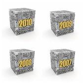 Yeni yıl 2010, 2009, 2008 ve 2007. — Stok fotoğraf