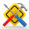 Utility. Tools, screwdriver and hammer. — Stock Photo #8403345