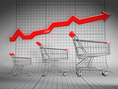 Sales growth. Shopping basket and graph — Stock Photo