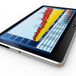 Tablet pc and business graph on the screen — Stock Photo