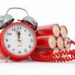 Countdown.  Time bomb with alarm clock detonator. Dynamit - Stock Photo