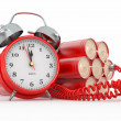 Stock Photo: Countdown. Time bomb with alarm clock detonator. Dynamit
