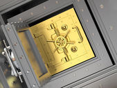 Triple protection. Few vaults in the vault. 3d — Stock Photo