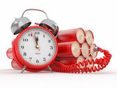 Countdown. Time bomb with alarm clock detonator. Dynamit — Stock Photo