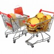 Consumerism.  Shopping cart with boxes and coins. 3d — Stock Photo