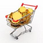 carrito de compras lleno de monedas. 3D — Foto de Stock   #8858573