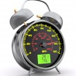 Speeding. Speedometer as alarm clock face — Stock Photo