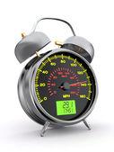 Speeding. Speedometer as alarm clock face — Stock Photo