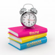 Back to school. Alarm clock on books. — Stock Photo