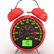 Speeding. Speedometer as alarm clock face - Stock Photo