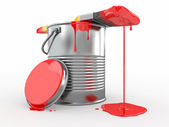Paint can and paintbrush. 3d — Stock Photo