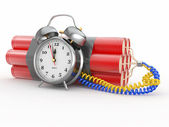 Countdown. Time bomb with alarm clock detonator. Dynamit — Stock Photo