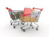 Consumerism. Purchase of goods for money. Shopping cart with box — Stock Photo