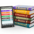 E-book reader. Textbooks and tablet pc. — Stock Photo