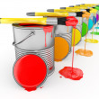 Paint can and paintbrush in colors of the rainbow. — Stock Photo