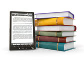 E-book reader. Books and tablet pc — Stock Photo