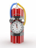 Time bomb with alarm clock detonator. Dynamit. 3d — Stock Photo