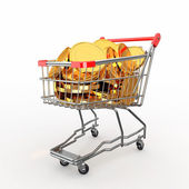 Shopping cart full of coins. 3d — Stock Photo