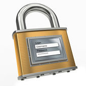 Padlock with login and password. 3d — Stock Photo