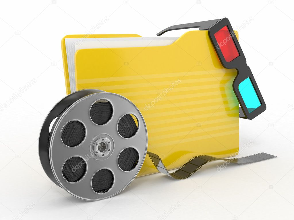 Multimedia folder. Film reel and 3d glasses on white background..  Stock Photo #9422807