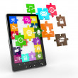 Tablet pc software. Screen from puzzle with icons. - Stockfoto