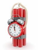 Time bomb with alarm clock detonator. Dynamit. 3d — Stock Photo