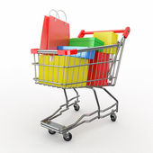 Gift buying. Shopping cart full of boxes — Стоковое фото