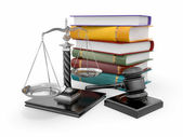 Justice concept. Law, scale and gavel — Stock Photo