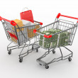 Cnsumerism. Shopping cart with boxes and dollars. 3d — Stock Photo