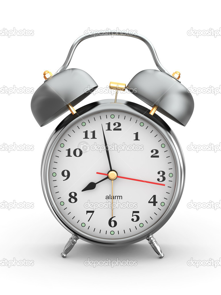 Old-fashioned alarm clock on white background. 3d — Stock Photo #9834394