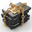 Stock Photo: Protected hdd. Chain and lock on hard disk drive
